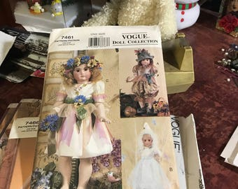 "Vogue Doll Collection 7461 Pattern - One Size - Teresa Layman  - Heirloom Costumes for 18"" Doll"