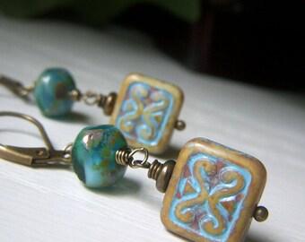 Beach Earrings, Surf and Sand Earrings Etched Glass Earrings, Teal Ocean Earrings, Czech Glass Rectangle Earrings, Brass Boho Dangle