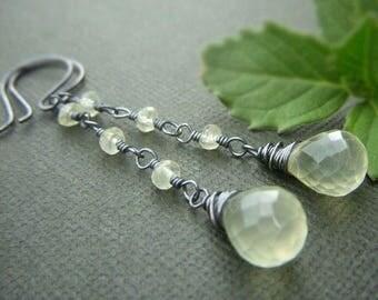 Prehnite Briolette Earrings Oxidized Sterling Silver, Long Gemstone Chain Earrings, Pale Yellow Green Teardrop Briolette Dangle