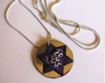 Enameled Star of David on Polished Disk - Passionate Purple with Alpaca-Silver - Purple White Flowers