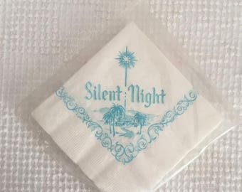 Vintage Christmas Silent Night Paper Napkins - 1 unopened package of 20 - Beautiful blue image