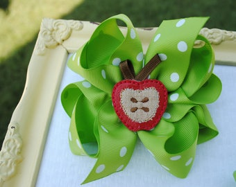 Apple Hair Bow Set - Fall Pigtail Bows - Apple Piggy Tail Bow - Holiday Hair Bow - Set of Two Fall Bows - Sister Bow Set - Candy Apple Green