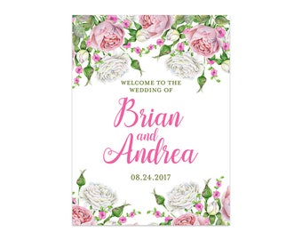 Printable Wedding Welcome Sign, Large Welcome Sign, Welcome Wedding Poster, Floral Wedding Sign, Wedding Template, Garden Wedding Sign