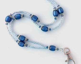 Blue Beaded ID Badge Lanyard - Sapphire Blue Moonglow Vintage Beads - ID Necklace