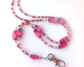 Pink Beaded ID Badge Lanyard - Pink Oval Cat Eye Beads - ID Necklace