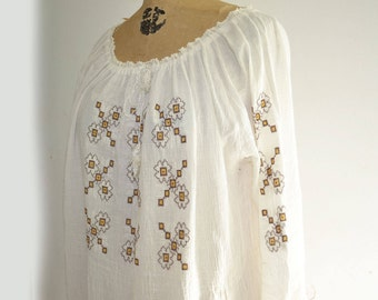 70s Gauze Embroidered dress crochet lace dress