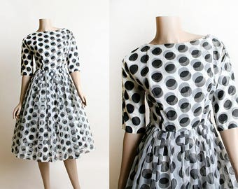 Vintage 1950s Dress - Black and White Polka Dot Chiffon Party Cocktail Dress - Full Skirt - Sheer Dots - Small