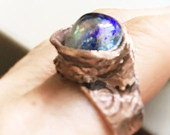 artisan ring sculpture free form, copper Basha electric purple  blue lampwork glass bead 11 My electric garden
