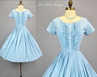 Jonathan Logan 50s Blue Dress S Vintage Ruffled Tuxedo Bodice Frock