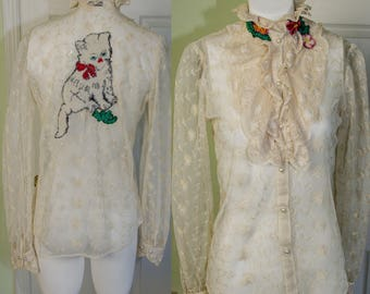 Upscscaled Vintage Lace Ruffled Woman's Blouse with Applique Kitten
