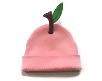 Peach Emoji Beanie - Pink Fruit Cap for all ages