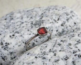 Rough Garnet Ring, Sterling Silver, Burgundy Red Raw Gemstone, Crystal Minimalist Jewelry
