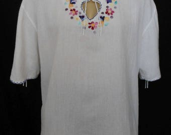 Vintage 70s Hand Embroidered Mexican Blouse with Lace Up Sleeves, 1970s White Cotton Gauze Top -- Size XL to XXL