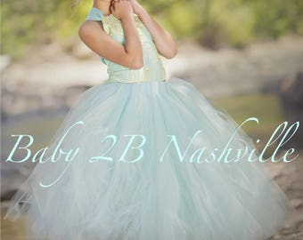 Aqua Blue Dress Gold Dress Flower Girl Dress Princess Dress Tulle Dress Lace Dress Wedding Dress Birthday Dress Tutu Dress Girls Mint Dress