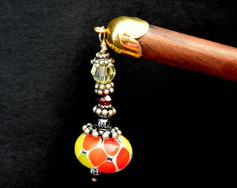 Sunshine on a Cloudy Day- Hairstick with Lampwork glass bead Sterling Silver and Swarovski Crystals