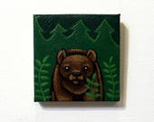 Bear in The Forest Painting Miniature - Brown Bear Tiny Art - Original Animal Wall Art Acrylic on Mini Canvas 2 x 2 Inches by Karen Watkins