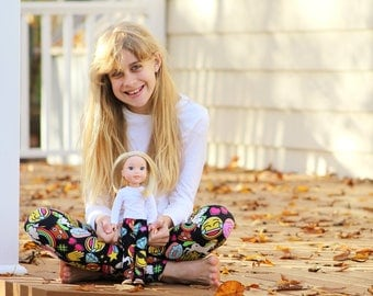 Matching Girl Doll Clothes fits American Girl Doll OR Wellie Wisher - Emoji Leggings, 3m, 6m, 12m, 18m, 2T, 3T, 4T, 5, 6, 7, 8, 10, 12