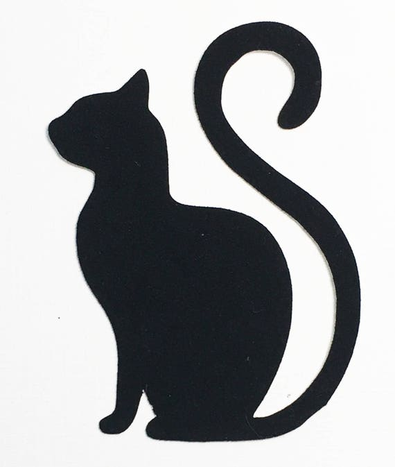 "Cat Die Cut Black Velvet Cardstock - 2-3/4"" Size - Sitting Long Tail Kitty - Halloween Pet Scrapbook Art Craft Embellishment Greeting Card"