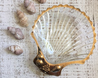 Glass Seashell, Brass seashell, Ring Dish, Beach Wedding, Nautical Bathroom, Tying the Knot, Seashell dish, Brass and glass, Vintage shell