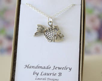 Fish Charm Necklace, Friendship Gift, Sterling Silver, Bestie Gift, Small Fish Charm, Thank you card, Ocean Charm