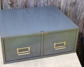 Vintage STEELMASTER Two Drawer Filing Cabinet Drawers Table Top