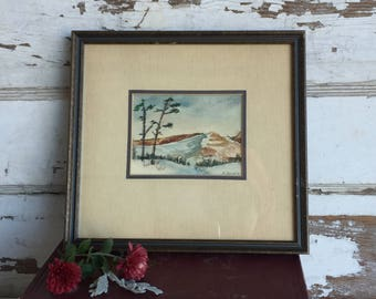 Vintage Watercolor Painting - Mountain Landscape -K Struble 1970s Framed Art