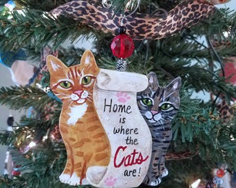 Tabby Cat Ornament ~ Ready to Ship!! ~ Cat Ornament ~ Christmas Cat Ornament ~ Home is where the Cats are ~ Scroll ~ Cat Memorial Gift