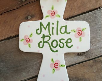 Jumbo Personalized Ceramic Cross, Baptism Gift, Christening, God Child