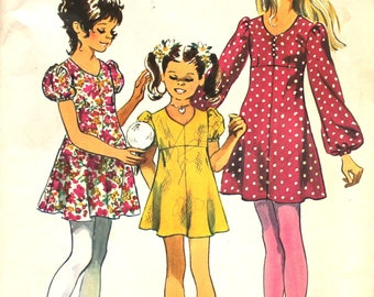 Girl's Puff Sleeved Dress Size 7 Simplicity 9848 Vintage Sewing Pattern