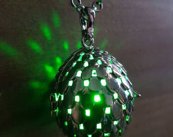 Black dragon egg glowing pendant necklace LED - Choose your color