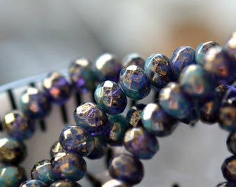 Last Listing - Galaxy Dust - Premium Czech Glass Beads, Translucent Tanzanite, Opaque Turquoise, Metallic Antique Gold Finish, Rondelles 7x5