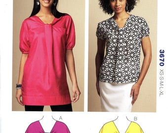 Kwik Sew 3670 Misses Pullover Top Tunic Bust Sizes 31.5 to 45 Uncut Sewing Pattern 2009
