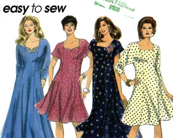 Simplicity 8946 Easy Dress Flared Princess Seam Square Neckline Size 26W 28W 32W Uncut Vintage Sewing Pattern 1994