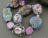 Handmade lampwork beads  l  free-formed - lentil-shaped - round  l  Orphans Destash Leftovers  l SRA l  glass set l made by Silke Buechler