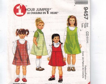 Kids Sewing Pattern McCalls 9457 Easy Jumper Pullover Dress Size 2 3 4 Breast 21 22 23 UNCUT
