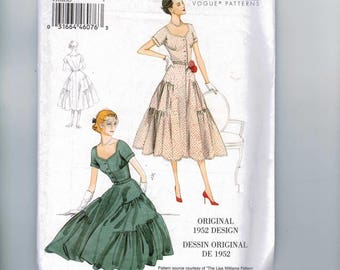 REPRODUCTION Misses Sewing Pattern Vogue V9106 9165 1952 1950s 50s Style Full Skirt Tiered Party Dress Size 6 8 10 12 14 16 18 20 22 UNCUT