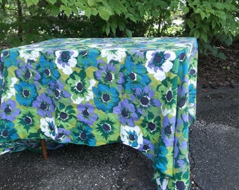 Vintage Linen Tablecloth 72x100 Floral Table Cloth Mid Century TableclothPop of Color French Country Cottage Style Table Linens
