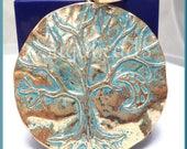 1 x Large Gold Tone Tree Pendant, Faux Patina Tree Pendant with Moon Pendant, Tree Pendant with Bail PS234