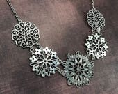 Silver filigree circles necklace