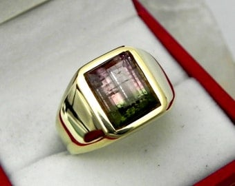 AAA Watermelon Tourmaline 10x8mm  3.59 Carats   Heavy 14K Yellow gold Emerald cut Mans ring 15-16 grams 1773