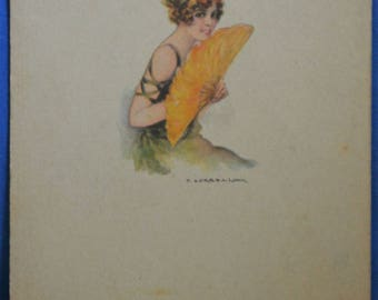 Art T. Corball Woman Flapper Green Dress Yellow Fan Printed Italy Italian Antique Postcard