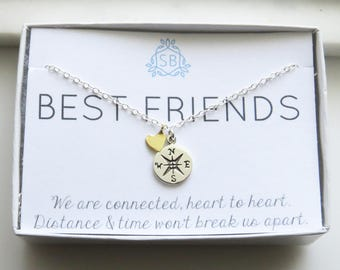 Best Friend Gift • Compass & Heart Charm Necklace • Compass Rose • BFF Gift • Long Distance Friends • Sentiment Card • Friends Forever