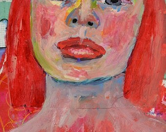 Pink Acrylic Mixed Media Portrait Painting. Original Art. Small Apartment Girl Wall Art.