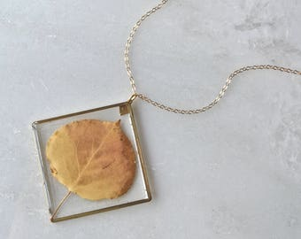 Gold Pressed Aspen Leaf Necklace Pressed Flower Jewelry Botanical