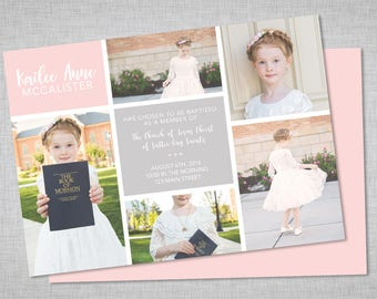 LDS baptism invitation, girls baptism invitation, picture collage, printable baptism announcement - digital baptism invitation