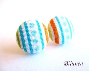 Orange Stripes earrings - Blue stripe stud earrings - Orange posts - Stripes studs - Colors post earrings sf1347