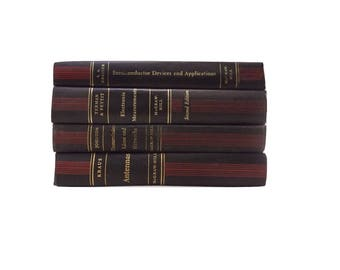 Black Red and Gold Book Stack, Electrical Engineering Books, Wedding Decor, Faded Black Book Spines, Man Cave Decoration, Distressed Books