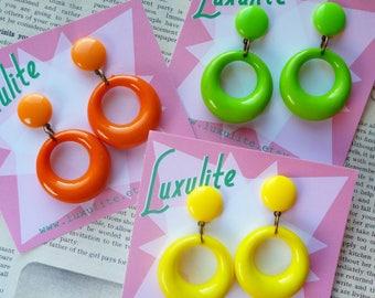 CITRUS! Sassy n simple Sweater girl drop hoop earrings - in yellow, orange or spring green - handmade 50s style by Luxulite