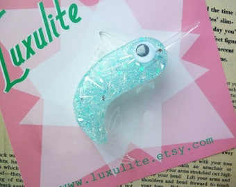 NEW colourway! Sassy Swordfish 1940s 50s confetti lucite style underwater themed novelty marlin brooch by Luxulite