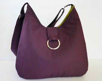 Sale - Deep purple Canvas Bag - Shoulder bag, Cross body, Diaper bag, Purse, Messenger bag, Tote, Travel bag, Women - Katie